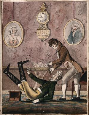 view A wealthy patient falls over having a tooth extracted with vigour by a fashionable dentist. Watercolour, 18--.