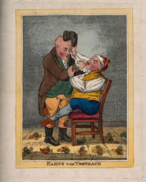 view A tooth-drawer extracting a tooth from a patient who is in such pain that he pulls the tooth-drawer's wig off. Coloured etching after J. Gillray (?).