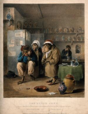 view Monkeys representing human beings in a tooth-drawer's surgery. Coloured lithograph by L. Haghe after E. Bristowe, 1828.