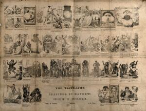 view Forty five different scenes telling the tale of a man with toothache, his various attempts at trying to cure himself and the final recourse to the dentist. Wood engraving by G. Cruikshank after H. Mayhew.
