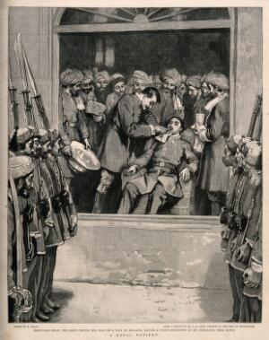 view Nashrullah Khan (son of the Amir of Afghanistan) having a tooth extracted in front of the soldiers of his father's army. Wood engraving after W. Small after J.A. Gray.