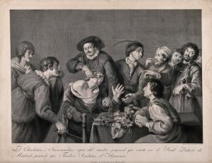 view A troupe of travelling performers including a toothdrawer. Line engraving by M. Salvador Carmona, 1805, after T. Rombouts.