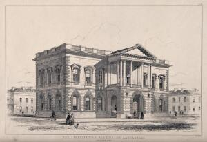 view The Peel Institution, Accrington. Lithograph by J.R. Jobbins.