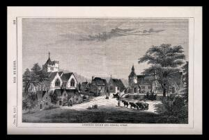 view The village of Angmering, Sussex, showing the church and schools. Wood engraving by W.E. Hodgkin, 1856, after B. Sly.