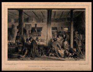 view Interior of l'hopital Blindé, Antwerp, with army patients and wounded men. Lithograph by D. Raffet, 1832.