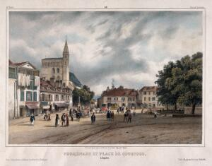 view Promenade leading to Coustous's busy town square, Bagnères, France. Coloured lithograph by J. Jacottet and A. Bayot.