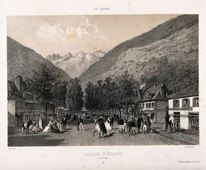 view The main avenue, Allées d'Étigny, Bagnères de Luchon. Lithograph by E. Ciceri.