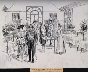 view Royal Victoria Hospital, Belfast: a visit by the King and Queen to the Clarence ward. Pen and ink drawing, 1903.
