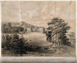 view The Wharfedale Hydropathic establishment and hotel (Ben Rhydding). Lithograph by W. Monkhouse, ca. 1860.