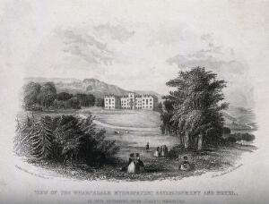 view The Wharfedale hydropathic establishment and hotel (Ben Rhydding) with surrounding grounds. Etching, ca. 1860.