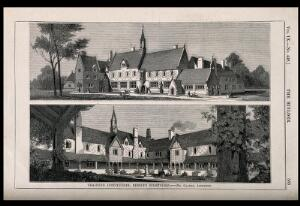 view The front and back views of the Training institution, Bishop's Stortford, Hertfordshire. Wood engraving by C.D. Laing, 1851, after Clarke.