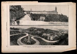 view Two views showing the new Rachitici institute and the surrounding woodland area of San Michele, Bologna, Italy. Wood engraving after a photograph by A. Belvederi, 1896.