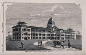 view The European General hospital, Bombay, India. Wood engraving by J.H. Metcalfe, 1864, after W.E. Hodgkin after T.R. Smith.