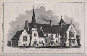 view The Church of England educational institution, Bolton. Wood engraving by C.D. Laing, 1853, after R.H. Potter.