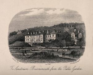 view The Sanatorium and grounds, Bournemouth. Photolithograph after an etching.