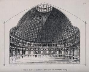 view Panoramic view of Brill's swimming bath, Brighton. Lithograph by J. Drayton Wyatt after himself after G.G. Scott.