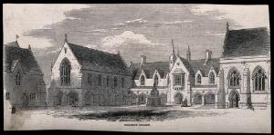 view Brighton College, Brighton. Wood engraving.