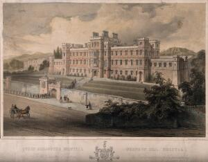 view Queen Elizabeth's hospital, Brandon Hill, Bristol: students filing in. Coloured lithograph by G. Hawkins after S.C. Jones after T. Foster.