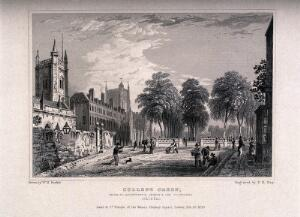 view Avenue leading to the College Green with St. Augustine's Church and Cathedral, Bristol. Line engraving by F.R. Hay, 1830, after W.H. Bartlett.
