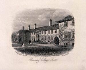 view Bromley college and grounds, Kent. Line engraving.
