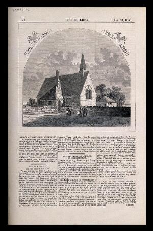 view Bryncoch school and church, Glamorgan, Wales. Wood engraving by W.E. Hodgkin, 1858, after G. Truefitt.