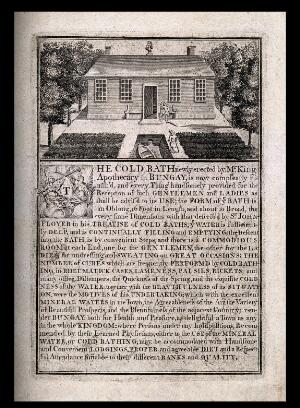 view The bath house and cold baths of Bungay, Suffolk with a description of the baths. Line engraving.