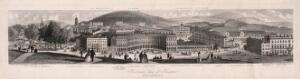 view Panoramic view of Buxton with a key to the sights. Line engraving by Newman & Co.