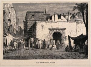 view The arab bath-house in the marketplace, Cairo, Egypt. Wood engraving by R. Bre... after E. Berninger.