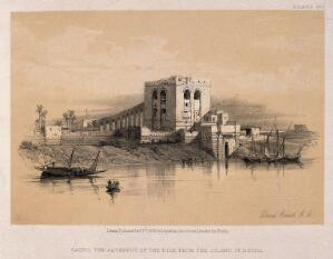 view The aqueduct seen from the island of Rhoda, Cairo, Egypt. Lithograph by D. Roberts, 1856.