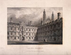 view Clare College, Cambridge: east and south ranges. Line engraving by J. Le Keux, 1842, after F. Mackenzie.