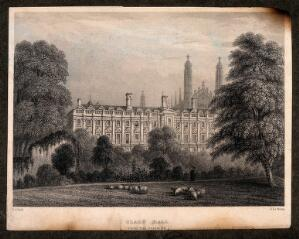 view Clare College, Cambridge: view from the Backs. Line engraving by J. Le Keux after I.A. Bell.
