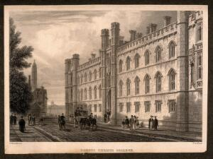 view Corpus Christi college and the street life outside, Cambridge. Line engraving by J. Le Keux after F. Mackenzie.