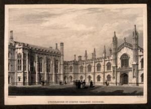 view Corpus Christi College, Cambridge: New Court. Line engraving by J. Le Keux after F. Mackenzie.