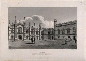 view Corpus Christi College, Cambridge: New Court. Line engraving, 1826.