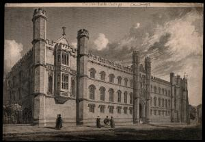 view Corpus Christi College, Cambridge. Line engraving.