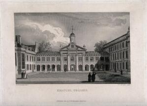 view Emmanuel College, Cambridge: Front Court, showing the facade of the Chapel. Line engraving by E.F. McCabe, 1824, after R.B. Harraden.