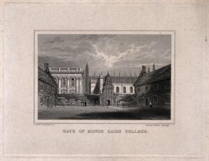view Gonville and Caius College, Cambridge: Caius Court towards the Gate of Honour. Line engraving by J. & H.S. Storer.