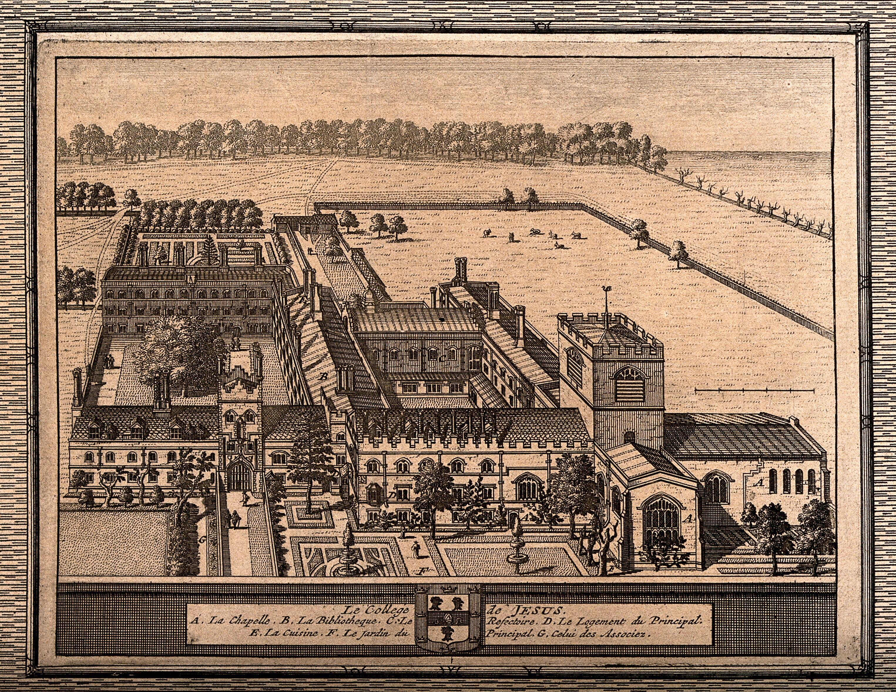 Jesus College, Cambridge: bird's eye view with a key and coat of