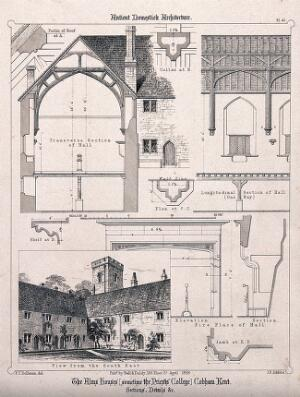 view The Alms Houses, Cobham, Kent: facade, and architectural details, with a key. Transfer lithograph by J.R. Jobbins, 1858, after F.T. Dollman.