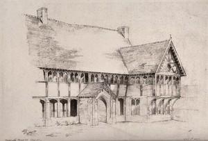 view Bablake Hospital, Coventry, Warwickshire. Photolithograph by W.J.H.B., 1884.