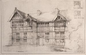 view The Hospital with architectural details, Coventry. Photolithograph by W.H. Bidlake, 1884.