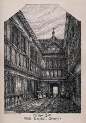 view The Open court, Ford's Hospital, Coventry. Photolithograph by J. Akerman after G.R. Webster, 1886.