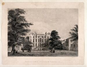 view Addiscomb College and grounds, Croydon, Surrey. Line engraving by H. Wallis after E. Pritchett.