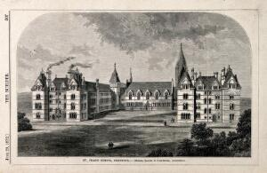 view St. Chad's School and grounds, Denstone, Staffordshire. Wood engraving by D.R.Warry, 1872.