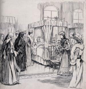 view Queen Alexandra visiting the sick in the Patrick ward, Dublin Hospital for the Dying, Ireland. Pen and ink drawing by A. Kemp Tebby, 1903, after H. Mills.