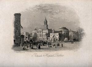 view The Rotunda and Lying-in Hospital with busy street life, Dublin, Ireland. Etching, 1842.