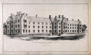 view The Criminal Lunatic Asylum, Dundrum, Dublin, Ireland. Transfer lithograph by J.R. Jobbins, 1850, after J. Owen.