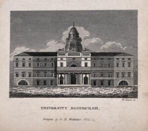 view The University of Edinburgh, Scotland. Line engraving by W. Read, 1825, W.H. Playfair.
