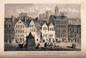 view The Grassmarket with Heriot's Hospital in the background, Edinburgh, Scotland. Etching by G. Aikman, 1841, after Storer.