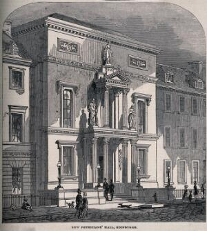 view The entrance to the New Physicians' Hall, Edinburgh, Scotland. Wood engraving.